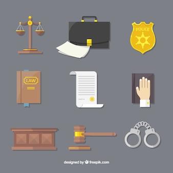 Elementi di diritto e giustizia con design piatto