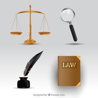 Elementi di diritto e giustizia con stile realistico