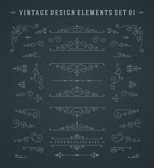 Elementi di disegno di decorazioni di ornamenti di ornamenti di vettore dell'annata