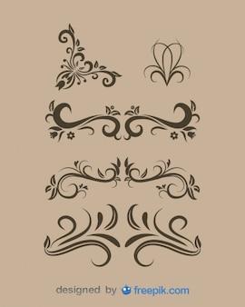 Elementi di disegno floreale d'epoca insieme