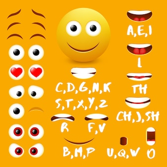 Elementi di disegno vettoriale emoji bocca maschio animazione