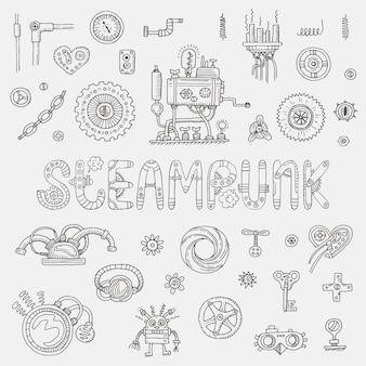 Elementi di doodle di steampunk