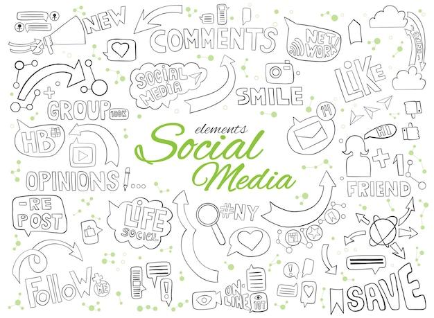 Elementi di doodle disegnato a mano per argomento di media sociali.