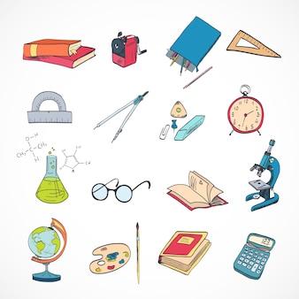 Elementi di educazione scolastica icone impostate con microscopio disegno bussole cancelleria isolato illustrazione vettoriale