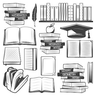 Elementi di educazione vintage impostati con libri scolastici libri di testo borsa mela tappo di laurea piuma isolata
