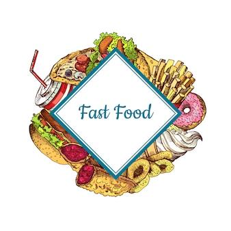 Elementi di fast food colorati disegnati a mano riuniti sotto rettangolo quadrato isolato in pianura