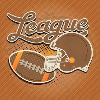 Elementi di football americano con colori retrò su sfondo vintage