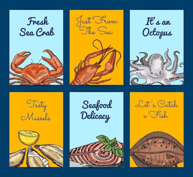 Elementi di frutti di mare disegnati a mano con posto per il testo