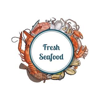 Elementi di frutti di mare disegnati a mano sotto il cerchio incorniciato