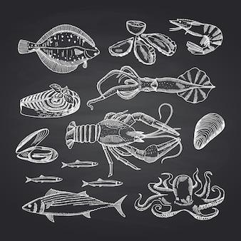 Elementi di frutti di mare disegnati a mano sul set di lavagna nera. illustrazione di schizzo di pesce, ostrica e gamberetti, granchio e aragosta