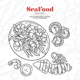 Elementi di frutti di mare disegnati a mano