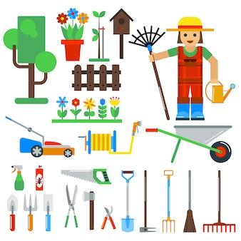 Elementi di giardinaggio strumenti vettoriali isolati