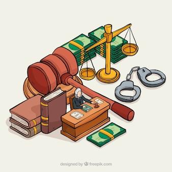 Elementi di giustizia disegnati a mano con vista isometrica
