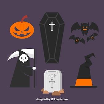Elementi di halloween con disegno piatto