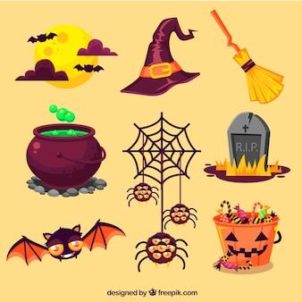 Elementi di halloween impostati