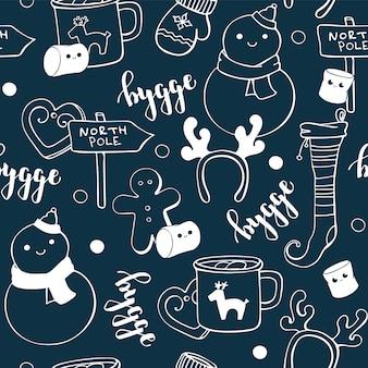 Elementi di hygge doodle carino
