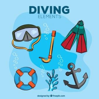 Elementi di immersione disegnati a mano con ancora