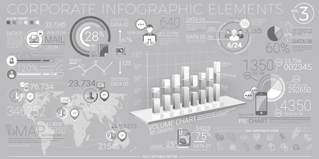 Elementi di infografica aziendale in grigio e bianco