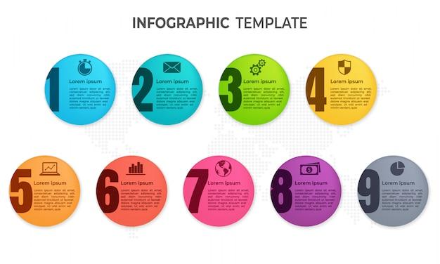 Elementi di infografica cerchio 9 opzioni.