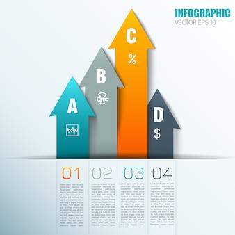 Elementi di infografica colorato design piatto con campioni di testo numerati in fondo e frecce verticali