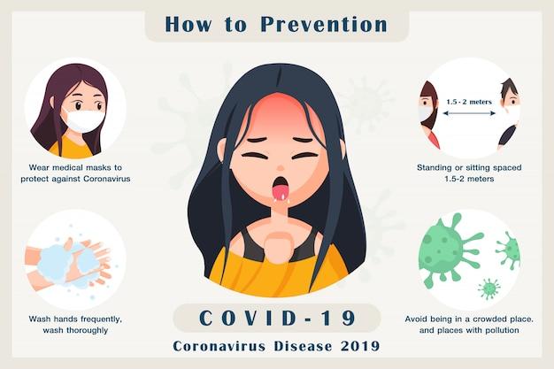 Elementi di infografica come prevenire l'infezione da un nuovo coronavirus, illustrazione covid-19