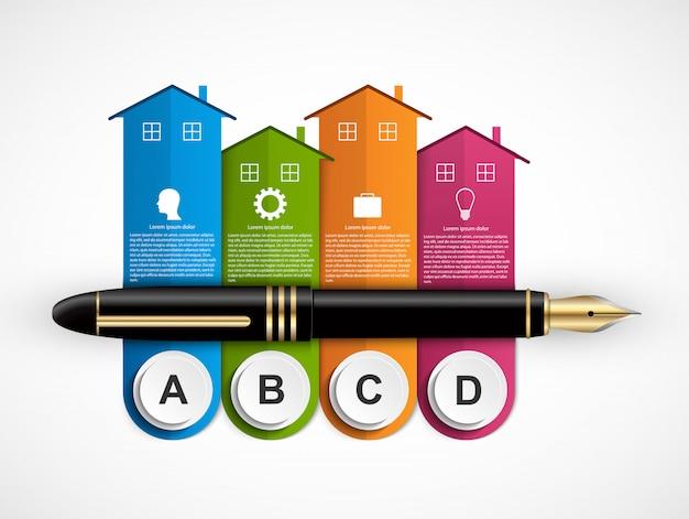 Elementi di infografica con case colorate