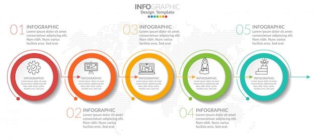Elementi di infografica con icona e opzione.