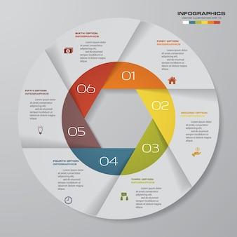 Elementi di infografica di 6 ciclo moderno grafico a ciclo.