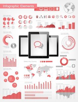 Elementi di infografica di compresse digitali