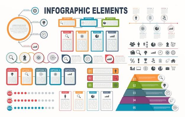 Elementi di infografica, diagramma, layout del flusso di lavoro, opzioni di passaggio di affari, banner, web design.