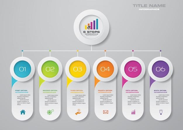 Elementi di infografica grafico a 6 passaggi.