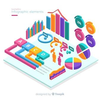 Elementi di infografica isometriche colorate
