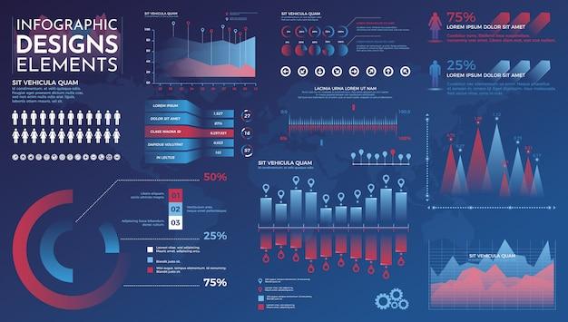 Elementi di infografica modello di vettore moderno infografica con grafici di statistiche e grafici di finanza