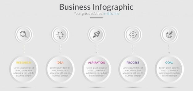 Elementi di infografica per contenuti con icone e opzioni o passaggi.