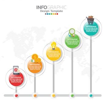 Elementi di infografica per contenuto, sequenza temporale, flusso di lavoro, grafico.