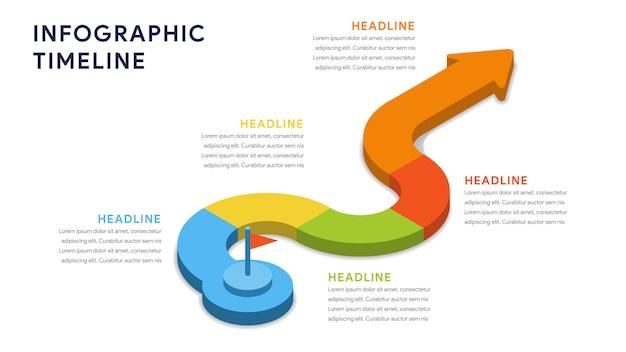 Elementi di infografica per passaggi, sequenza temporale, flusso di lavoro