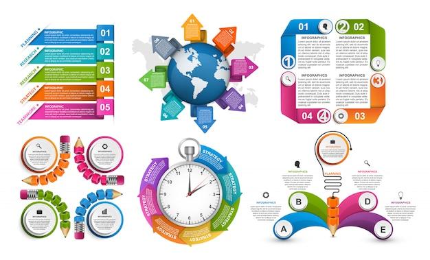 Elementi di infografica per presentazioni aziendali.
