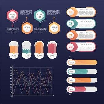 Elementi di infografica professionale gradiente