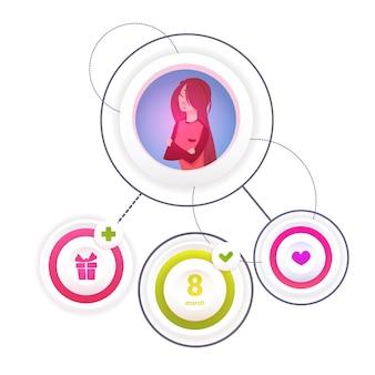 Elementi di infographic di festa di giorno delle donne di intrnational su fondo bianco concetto dell'8 marzo