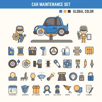 Elementi di infographic di manutenzione auto per bambino