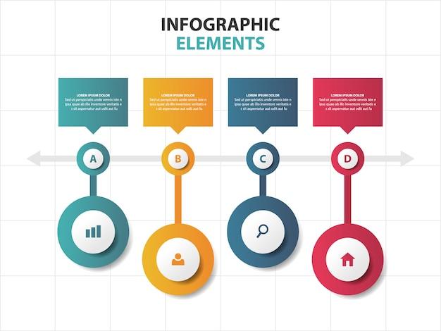 Elementi di infographics business timeline del cerchio