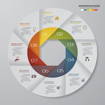Elementi di infographics del diagramma di ciclo moderno di 8 punti.