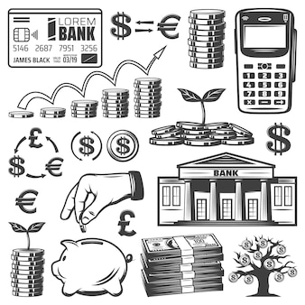 Elementi di investimento vintage impostati con pile di banconote bancarie carta di pagamento mobile monete soldi albero salvadanaio isolato