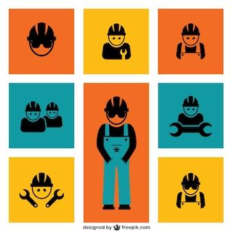 Elementi di lavoratori edili vettore