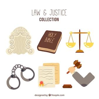 Elementi di legge e giustizia disegnati a mano
