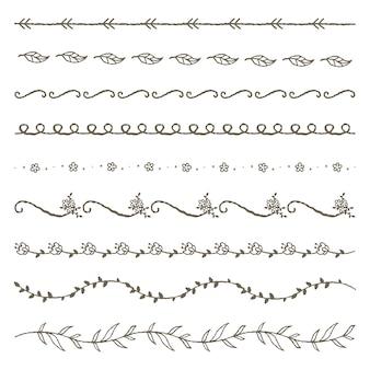 Elementi di linea decorativi floreali