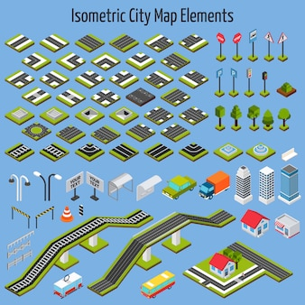 Elementi di mappa città isometrica