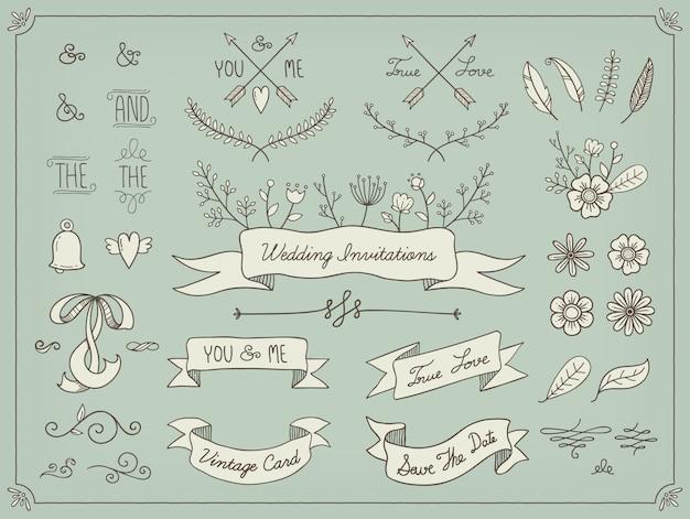 Elementi di nozze disegnati a mano