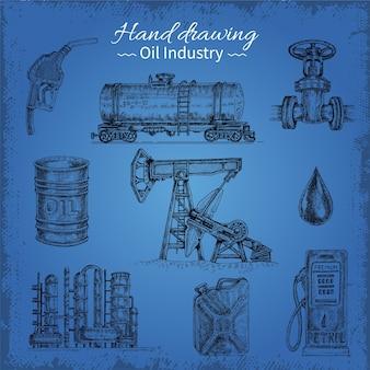 Elementi di olio di disegno a mano