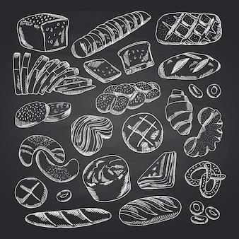 Elementi di panetteria contornati disegnati a mano di vettore sulla lavagna nera. schizzo della lavagna del forno, illustrazione del disegno di gesso di scarabocchio